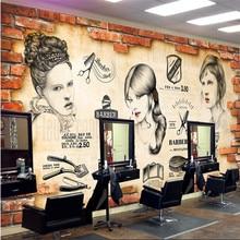 Pared de ladrillo Retro barbería salón de peluquería Fondo 3D papel pintado Mural tendencia peluquería Centro decoración Industrial papel de pared 3D