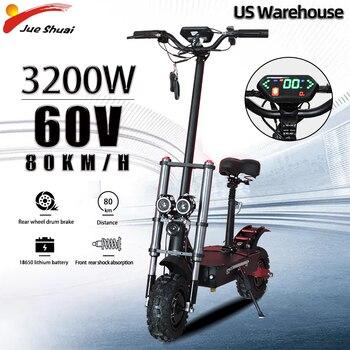 Patinete eléctrico de doble motor para adulto, scooter largo plegable con asiento de 3200W y 60V de potencia