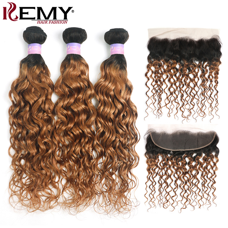 Water Wave Human Hair Bundles With Frontal 13x4 KEMY HAIR T1B/30 Brazilian Ombre Brown Hair Weave Bundles With Closure Non-Remy