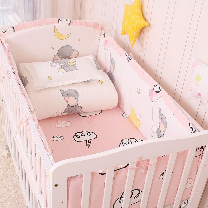 6/9pcs Pink Elephant Baby Cot Bedding Set Toddler Bedding Baby Bed Bumper Newborns Children's Cradle Bed Protector 120*60/120*70