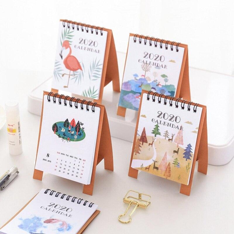 New 2020 Calendar Cute Cartoon Animal Pattern Mini Desk Decorations School Office Planner Kawaii Agenda Table Calendars