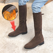 Plus Size 34-43 New Autumn Winter Mid-calf Women Boots Flats Heels Warm Plush Genuine Leather Boots High Quality Knee High Boots genuine leather women winter boots brand women winter shoes natural wool warmful plush high quality knee high boots xammep