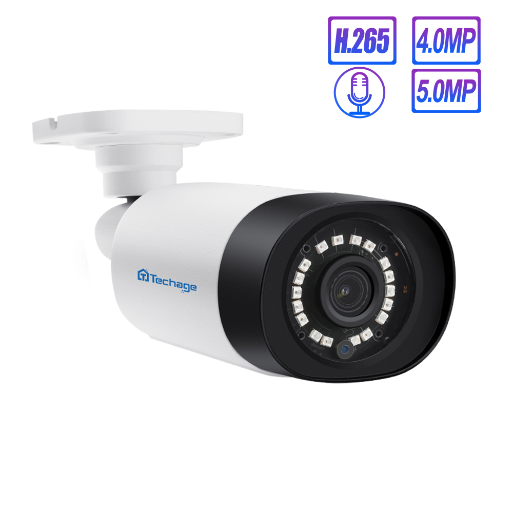 Techage H.265 5MP 4MP 48V POE Camera Audio Record Outdoor IP Security Camera Video Ntework Surveillance ONVIF For NVR System Kit