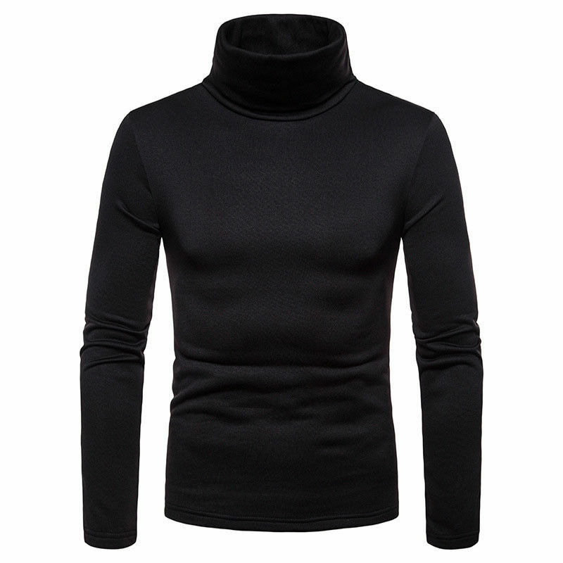 Fashion New Streetwear Men's Winter Warm Cotton Solid High Neck Pullover Jumper Sweater Tops Men's Turtleneck