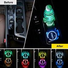 AOGENIU – dessous de verre USB pour boissons, 2 pièces, Logo de voiture LED, pour Fait Chevrolet Abarth citroën Honda Corvette cadillac Buick