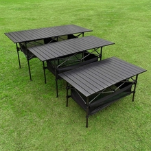 Outdoor Garden Furniture Table Folding Portable Picnic Camping Table Roll-Up Aluminum Alloy BBQ Picnic Hiking Camping Table