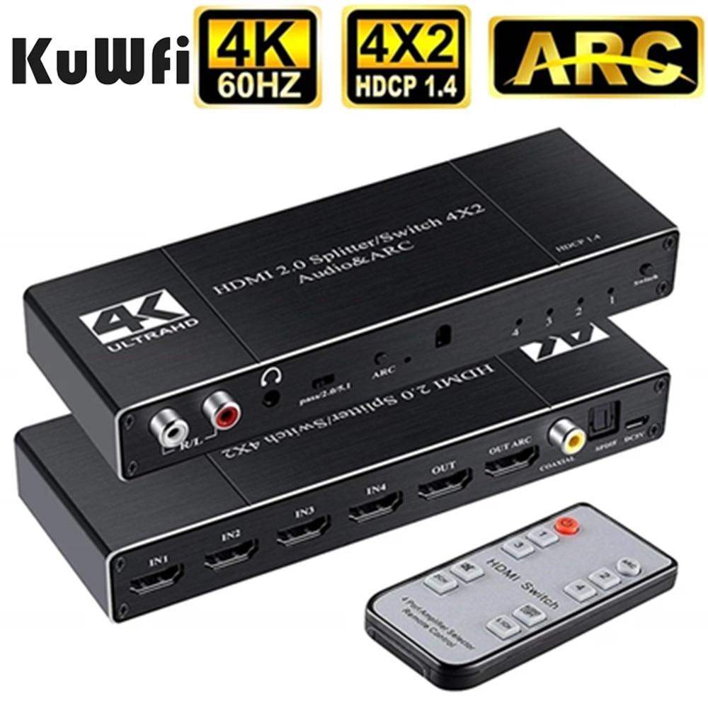 HDMI переключатель с пультом дистанционного управления 4K 60Hz коммутатор 4x2 Разделитель с мультимедийным интерфейсом высокой четкости/переклю...