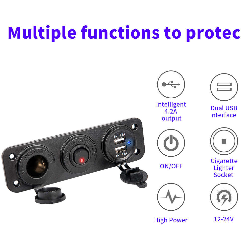 4.2A Dual USB Car Chargerซ็อกเก็ตบุหรี่ไฟแช็กSplitterอิสระสลับ 12V-24Vเรือรถจักรยานยนต์