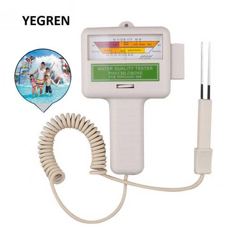 Comprobador de cloro del medidor del PH del agua del tipo Pin Probador de Calidad del Agua para la supervisión del agua del SPA de la piscina