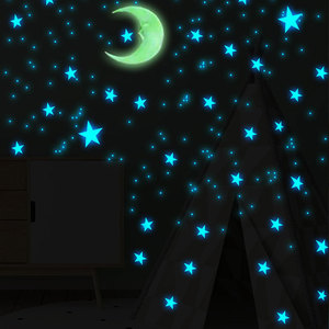 Image 3 - 100 Pcs 3cm Luminous Stars Wall Stickers Glow In The Dark Stars For Kids Baby Room Living Room DIY Wall Art Home Decor Stickers