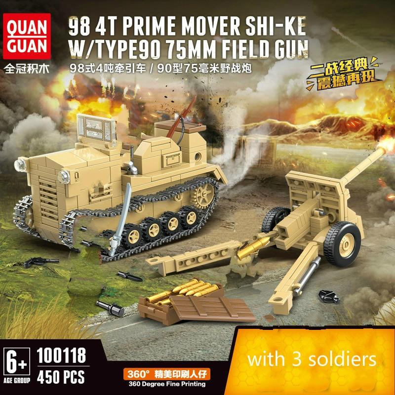 New 450pcs WW2 Tank Series Japan Field Gun Tractor Building Blocks Model Bricks  WW2 Military Figures Toys|Blocks| |  - title=