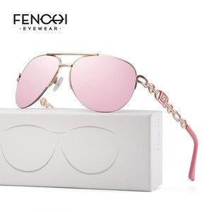 FENCHI women sunglasses designer trendy brand vintage pink mirror sunglasses ladies cat eye óculos de sol feminino(China)