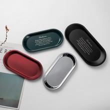 Bandeja de Metal para almacenamiento de joyas, accesorio sencillo de acero inoxidable, Color plateado, negro, verde y rojo, para tienda de té