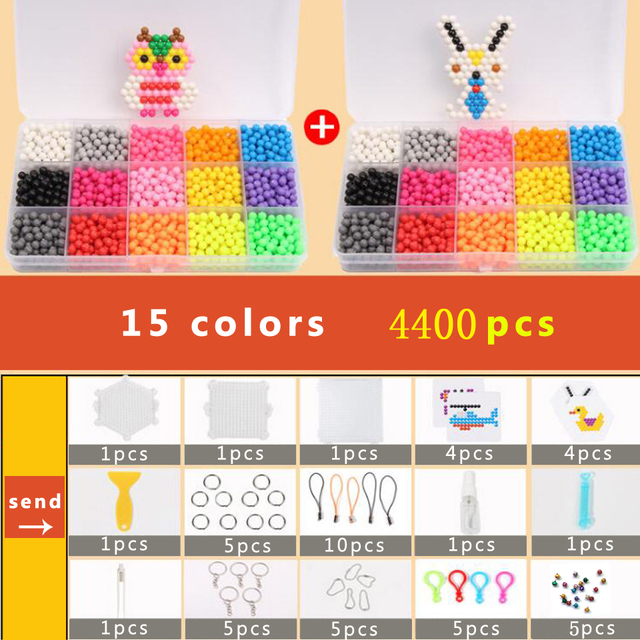 DOLLRYGA DIY Beads Set 3D Cuentas Hama Beads 5mm 4400pcs Pegboard Aqua perlen Puzzle for Kid Bracelet Weaving Band Girl Gift