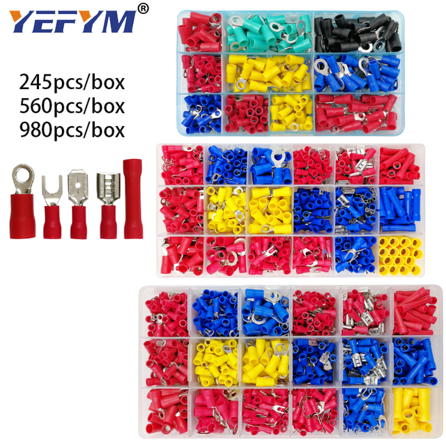 Box assorted full insulated fork U type set terminals connectors assortment kit electrical wire crimp spade ring terminal