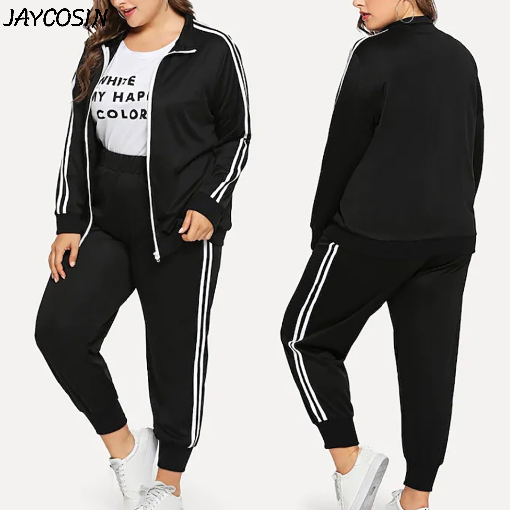Women Plus Size Tracksuits Hooded Long Sleeve Winter Tops /& Pant Trouser Sets US