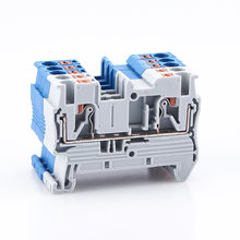 Din Rail Terminal Block PT-2.5 Push In Terminal Connector Spring Screwless Electrical Wire Conductor Terminal Block PT2.5 10pcs