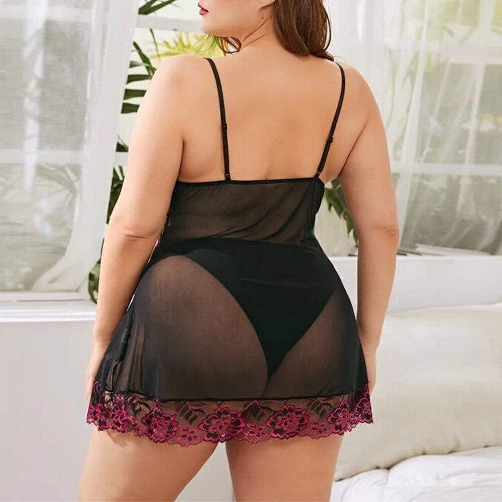 Sexy Grande Taille Sous-Vêtements Nuisette Dentelle Broderie Vêtements De Nuit Nuisette Érotique Lingerie