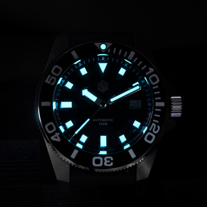Image 5 - סן מרטין Diver NH35 ספיר קריסטל גברים אוטומטי מכאני שעונים 120 קליקים קרמיקה לוח 30Bar BGW9 זוהר תאריך חלון