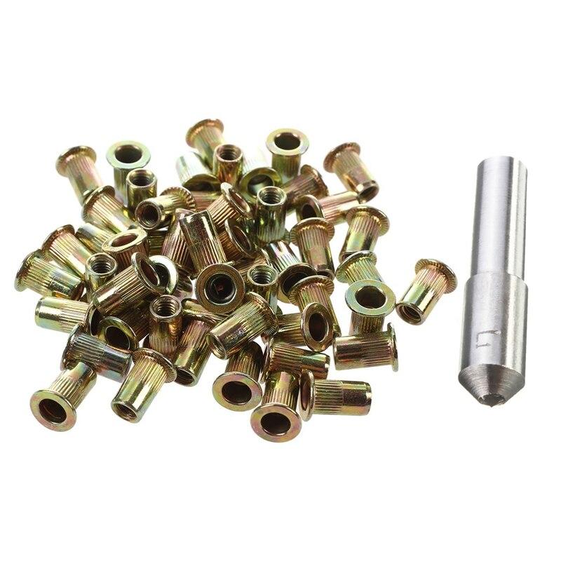 51Pcs Accessories: 50Pcs M4 Flat Head Rivet Nut & 1Pcs Grinding Disc Wheel Grinding Diamond Dresser Dressing Pen Tool