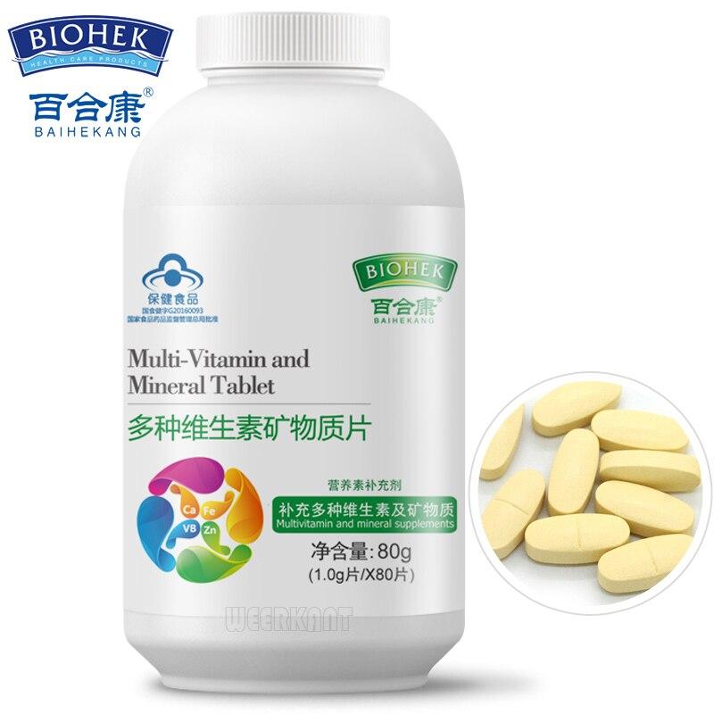 2 bouteilles multivitamines avec Zinc fer Calcium multivitamines avec fer pour adultes avec vitamine B1 B2 B6 C E comprimés