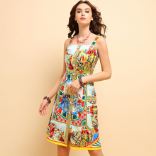 Baogarret Fashion Summer Spaghetti Strap Dress Womens Sleeveless Backless Character Printed Casual Holiday Midi Dresses