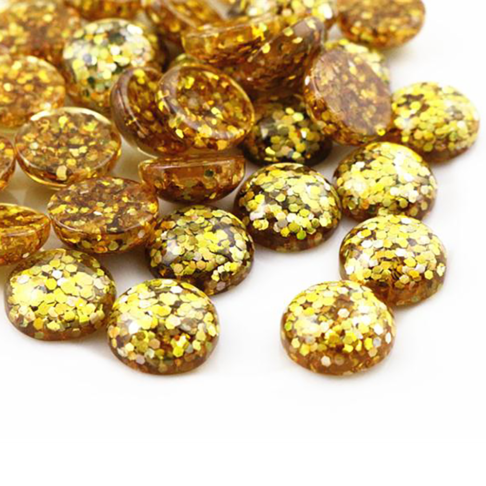 New Fashion 40pcs 12mm Yellow Color Flat Back Resin Cabochons Cameo  G5-21