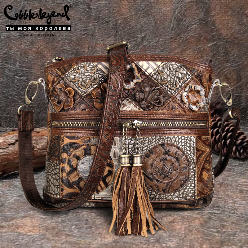 Cobbler Legend Bohemian Genuine Leather Designer Floral Bags Women Shoulder Bag Patchwork Tassels Bag Vintage Handbags Purse