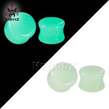 New Arrival Luminous Stone Polish Flesh Ear Piercing Plugs Expanders Body Jewelry Fashion Gift Mix Size 6 To 16mm