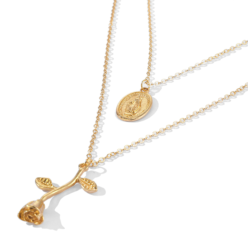 Tocona Vintage Virgin Mary Rose Flower Pendant Necklaces Women's Beauty Layered Gold Choker Long Necklace Chain бижутерия 9518