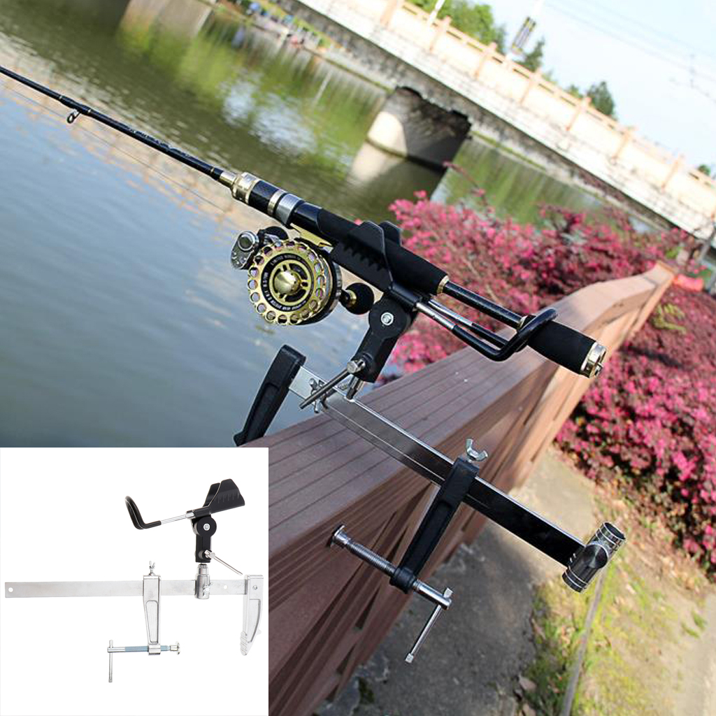 US Adjustable Stainless Steel Dual Fishing Rod Pole Ground Holder Stand Support