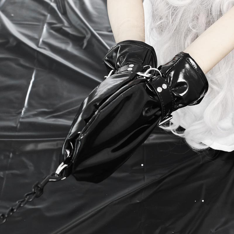 Soft Faux Leather Fist Mitts Fingerless Gloves With Locks And D Rings Hand Restraint Mitten Pet Role Play Fetish Costume