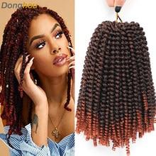 Ombre wiosna Twist włosy 8 Cal wiosna Twist szydełkowe włosy dla czarnych kobiet włosy syntetyczne do warkoczy perwersyjne kręcone Twist 30 nici/szt