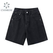 Novo 2021 verão cintura alta denim shorts feminino casual solto senhoras moda mais tamanho botão de moda perna larga calças curtas feminino