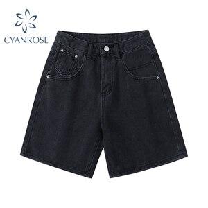 Новые 2021 летние джинсовые шорты с высокой талией, женские повседневные свободные Дамская мода размера плюс, украшенные кнопками с широкими ...
