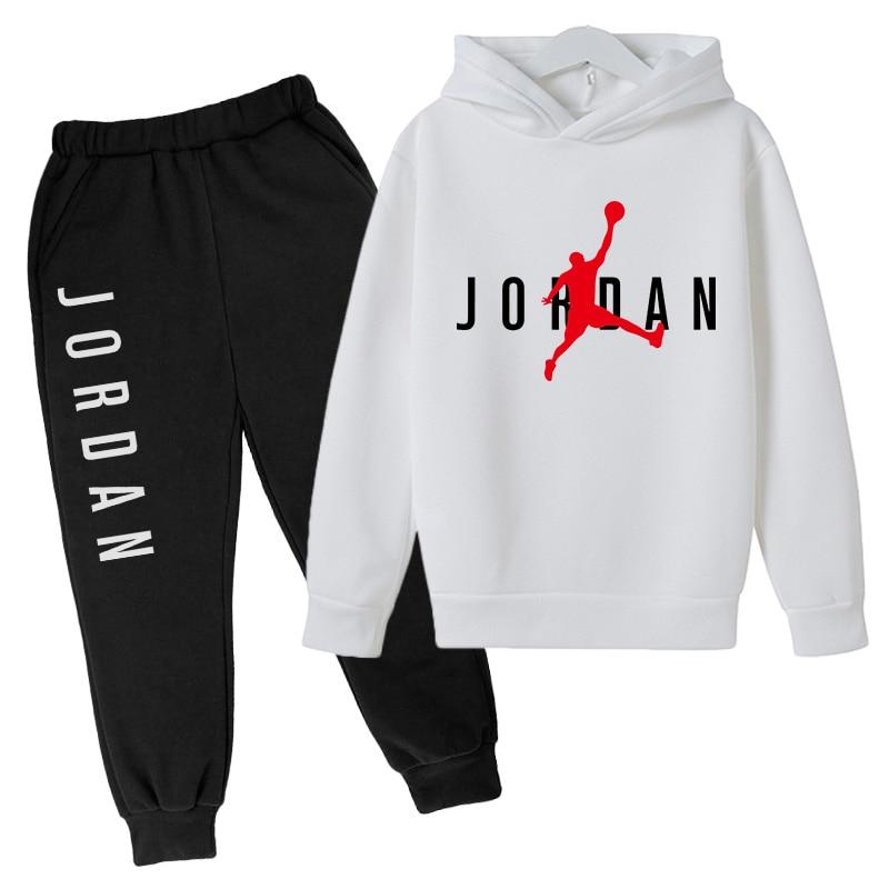 4-12Y Polyester Cotton Sweatshirt Jordan No. 23 Printed Hoodie + Pants Two-piece Girl Boy Hoodie Baby Autumn Children's Set