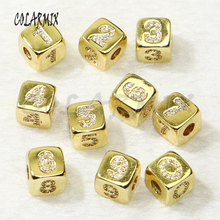 10 pieces cubic pendants Arabic numerals cubic beads accessories for jewelry making fashion jewelry trendy 50266