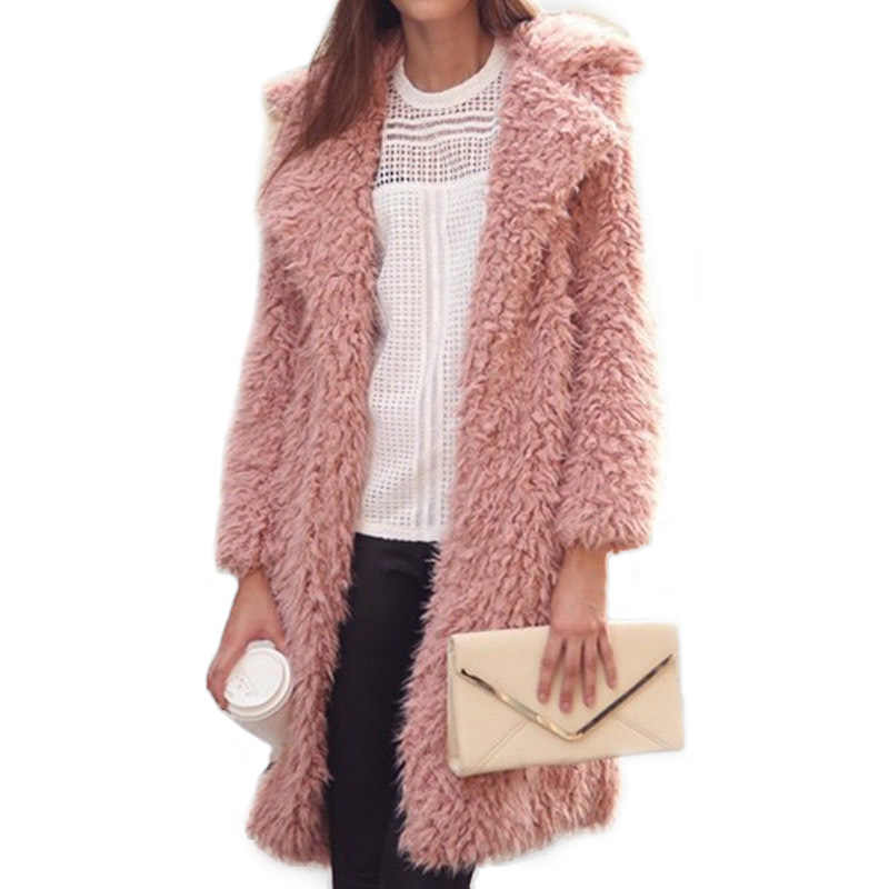 Женские зимние пальто и куртки с отворотами, длинное пальто, женская плюшевая уличная одежда 2020, Новая Зимняя шерстяная Casaco Feminino Inverno