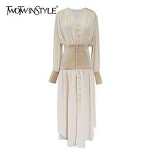 TWOTWINSTYLE Herbst Patchwork Kleid Für Frauen V Neck Langarm Hohe Taille Koreanische Kleider Weibliche 2020 Große Größe Mode Neue