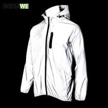 WOSAWE – veste à capuche entièrement réfléchissante, coupe-vent, imperméable et respirante pour le cyclisme, le sport et la course de nuit, printemps