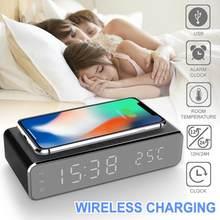 Led Elektrische Wekker Met Telefoon Oplader Draadloze Desktop Digitale Thermometer Klok Hd Klok Spiegel Met Tijd Geheugen