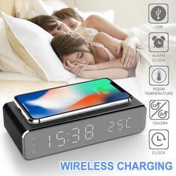 LED Elektrische Wecker Mit Telefon Ladegerät Wireless Desktop Digital-Thermometer Clock HD Uhr Spiegel Mit Zeit Speicher