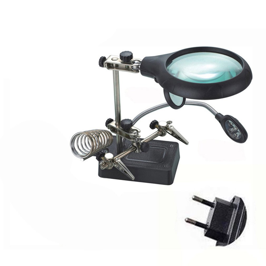 Desktop Magnifiers Multifunctional Clip Magnifying Tool With LED Light Electric Iron Auxiliary Stand Magnifying Glass