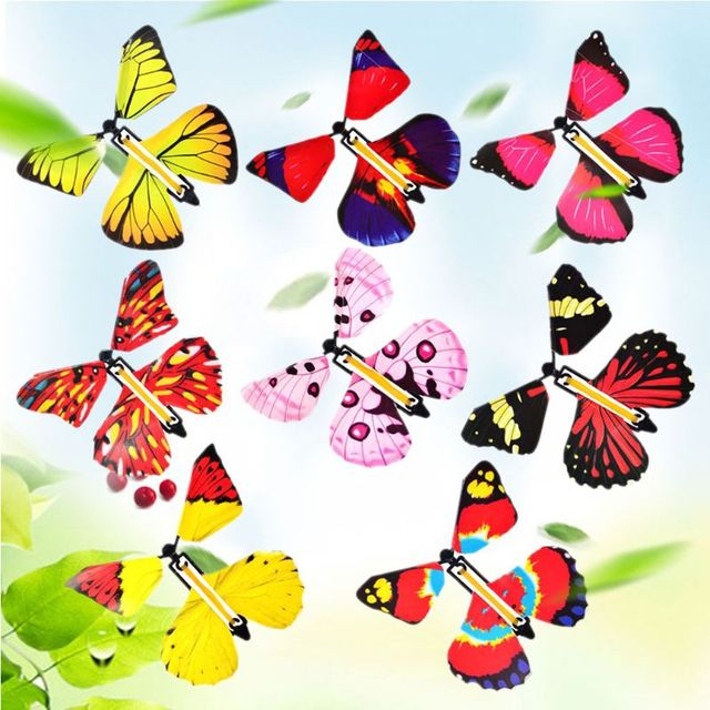 10/20PCS Flying in the Book Fairy Rubber Band Powered Wind Up Great Surprise Birthday Wedding Card Gift Butterfly Card Magic Toy 1
