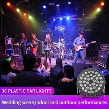 LED 36pcs Plastic Par Light KTV Bar Disco DJ Wedding Stage Dyeing Beam Sound Control Music