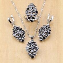 הפרזה שחור מעוקב Zirconia 925 כסף סטרלינג תכשיטים לנשים המפלגה עגילים/תליון/שרשרת/טבעת