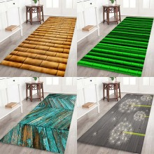 купить Bamboo stick pad bamboo stick board type flower printing Anti-Slip water absorption flannel home mat дешево