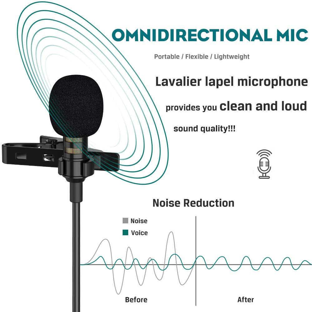 BassPal Lavalier Revers Mikrofon, Kugelcharakteristik-kondensatormikrofon Mic für iPhone iPad Mac Android Smartphones,Noise Cancelling Mikrofon