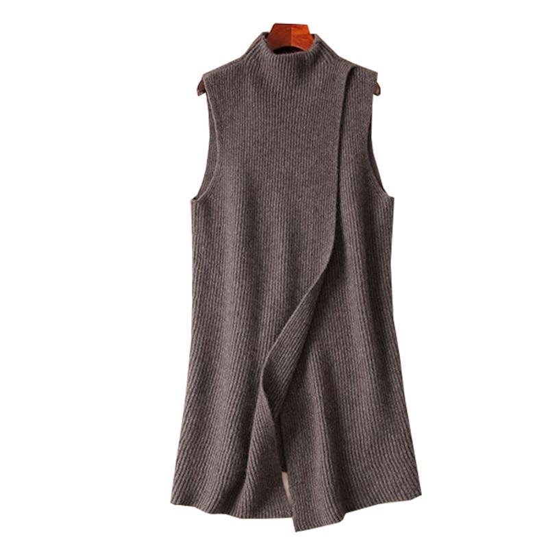 2019 Women's New Autumn Winter Cashmere High Collar Long Vest Soft Comfortable Cloak Sleeveless Front Slit Fashion Casual Dress