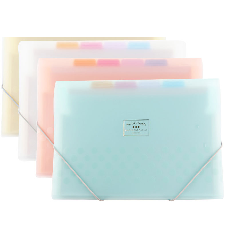 Frosted PP Folder Expanding Wallet 8 Layers Inner Document Organizer File Folder A4 4 Colors Available Folder Fog-like Feeling